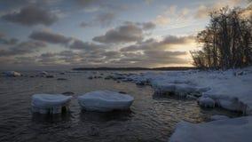 Pierres congelées au lever de soleil Images stock