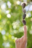 Pierres d'équilibre de main sur Bkgrnd vert brouillé par doigt Photographie stock