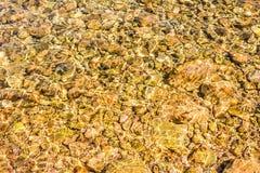 Pierres dans l'eau Plage pierreuse Réflexions colorées sur l'eau Image libre de droits