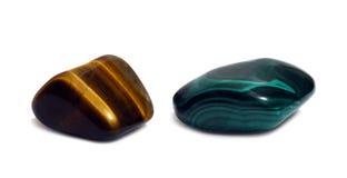 Pierres de gemme - agat et malachite image stock