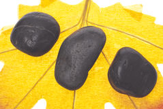 Pierres de massage de zen sur une lame d'automne Photographie stock libre de droits
