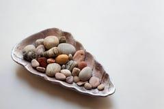 Pierres de mer colorées dans divers modèles à l'intérieur d'un coquillage image stock