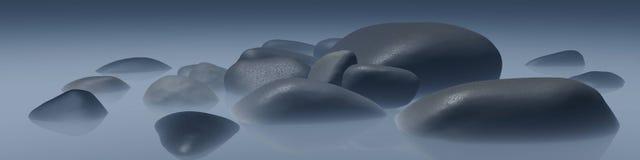Pierres de mer dans le brouillard Photos libres de droits