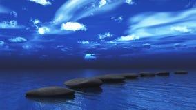 Pierres de progression à travers l'océan Photographie stock