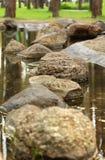 Pierres de progression dans l'étang ou le lac, conception de paysage de jardin Image stock