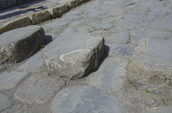 Pierres de progression dans les rues de Pompeii, Italie photos libres de droits