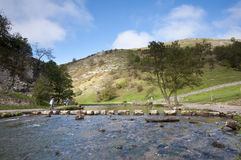 Pierres de progression de Dovedale, district maximal Images libres de droits