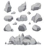 Pierres de roche La pierre, le charbon et les roches de graphite empilent l'illustration d'isolement de vecteur illustration stock