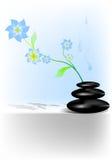 Pierres de station thermale avec de l'eau la fleur et illustration de vecteur