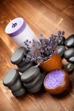 Pierres de station thermale - lavande aromatherapy Photos stock