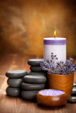 Pierres de station thermale - lavande aromatherapy Images stock