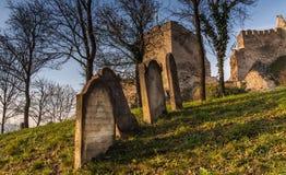 Pierres de tombe au cimetière juif au-dessous du château médiéval Beckov photos libres de droits