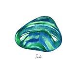 Pierres de turquoise et de rauchtopaz de jade d'aquarelle d'isolement sur le fond blanc illustration de vecteur