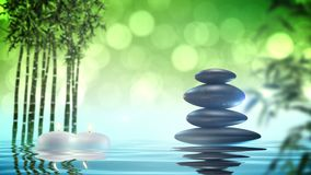 Pierres de zen avec la boucle de bambou et d'eau banque de vidéos