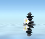 Pierres de zen avec le frangipani photos libres de droits