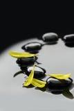 Pierres de zen et pétales noirs de fleur Photo libre de droits