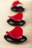 Pierres de zen et pétales roses Photos libres de droits