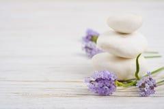 Pierres et brindilles avec des fleurs de lavande sur la table en bois Images stock