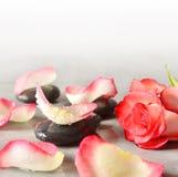 Pierres et pétales de rose de station thermale au-dessus de fond gris Photo stock
