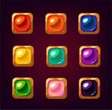 Pierres gemmes carrées colorées de bande dessinée Images libres de droits