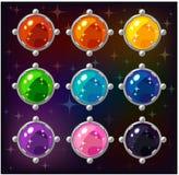 Pierres gemmes colorées de cercle de bande dessinée Image libre de droits