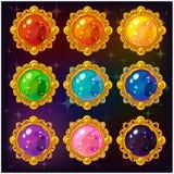 Pierres gemmes colorées de cercle de bande dessinée Photographie stock libre de droits