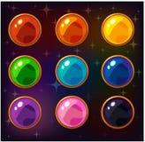 Pierres gemmes colorées de cercle de bande dessinée Photo libre de droits