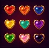 Pierres gemmes colorées de coeur de bande dessinée Photo stock