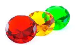 Pierres gemmes rouges, jaunes et vertes images libres de droits