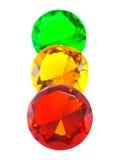 Pierres gemmes rouges, jaunes et vertes photographie stock libre de droits