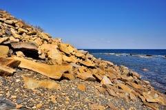 Pierres jaunes sur la plage Photos libres de droits