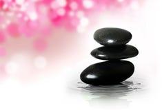 Pierres noires de zen Image libre de droits