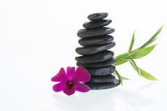 Pierres noires de zen avec l'orchidée Photo stock