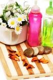 Pierres, pétales et baumes pour la session aromatherapy Photo stock