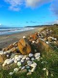 Pierres peintes sur la plage Images libres de droits