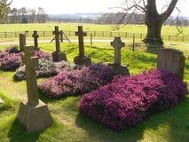 Pierres tombales à l'abbaye de Calke Images libres de droits