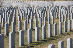 Pierres tombales des soldats chez Abraham Lincoln National Cemetery Photos stock