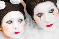 Pierrot威尼斯屏蔽,狂欢节。 库存照片