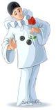 Ο λυπημένος βαλεντίνος Pierrot με ένα κόκκινο αυξήθηκε Στοκ εικόνα με δικαίωμα ελεύθερης χρήσης