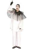 Pierrot diritto che indica sull'isolato su Fotografia Stock Libera da Diritti