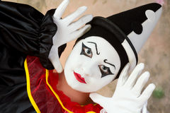 Pierrot doing mime Royalty Free Stock Images