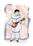 Pierrot grief buffoonery theater lute Stock Image