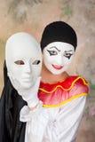 Pierrot maskerar Royaltyfria Bilder