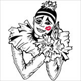 Pierrot met kus op de wang Stock Fotografie