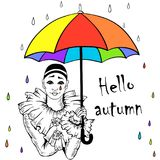 Pierrot met regenboogparaplu Stock Foto