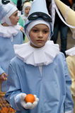 'Pierrot' on Shrove Tuesday, Binche Carnival, Belgium. The Carnival of Binche is an event that takes place each year in the Belgian town of Binche. Binche royalty free stock photos