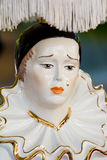 Pierrot vintage lamp. Vintage bedside lamp of sad Pierrot, famous pantomime Royalty Free Stock Images