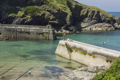 Piers and harbour at Boscastle, Cornwall Royalty Free Stock Photography