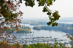 Piers and islands of Dniper in Kyiv. Stock Image