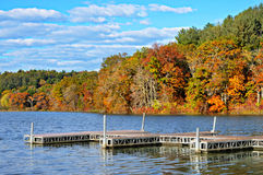 Piers in Lake, Autumn Colors Royalty Free Stock Images